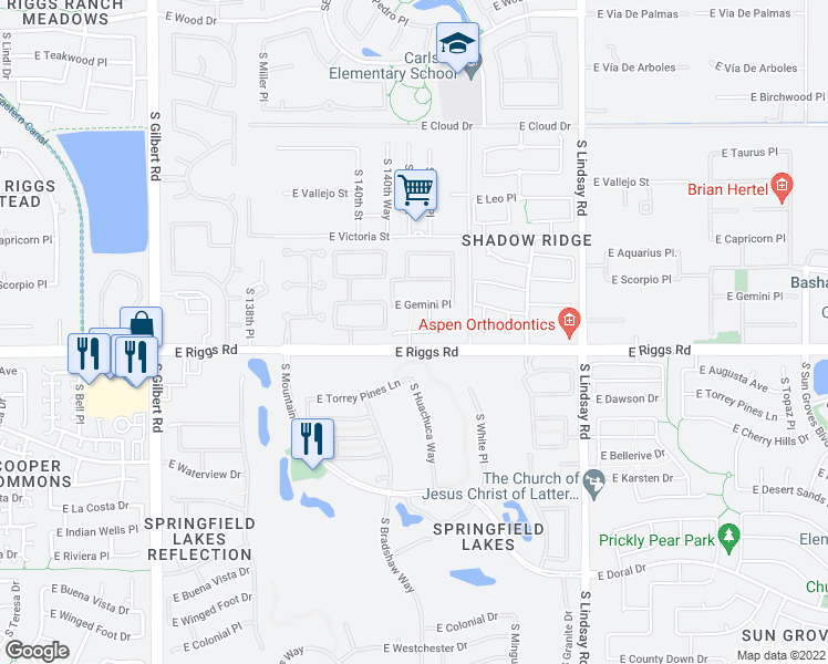 map of restaurants, bars, coffee shops, grocery stores, and more near 3646 East Sagittarius Place in Chandler