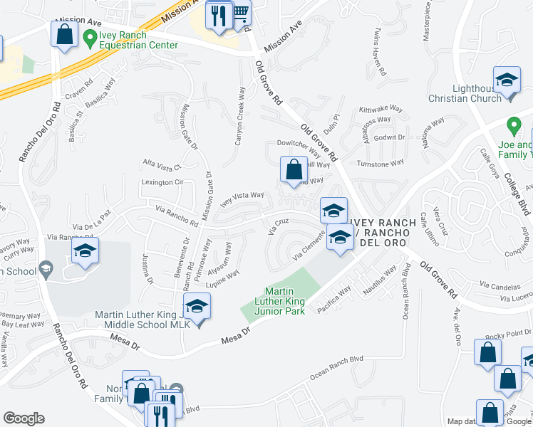 map of restaurants, bars, coffee shops, grocery stores, and more near 4085 Ivey Vista Way in Oceanside