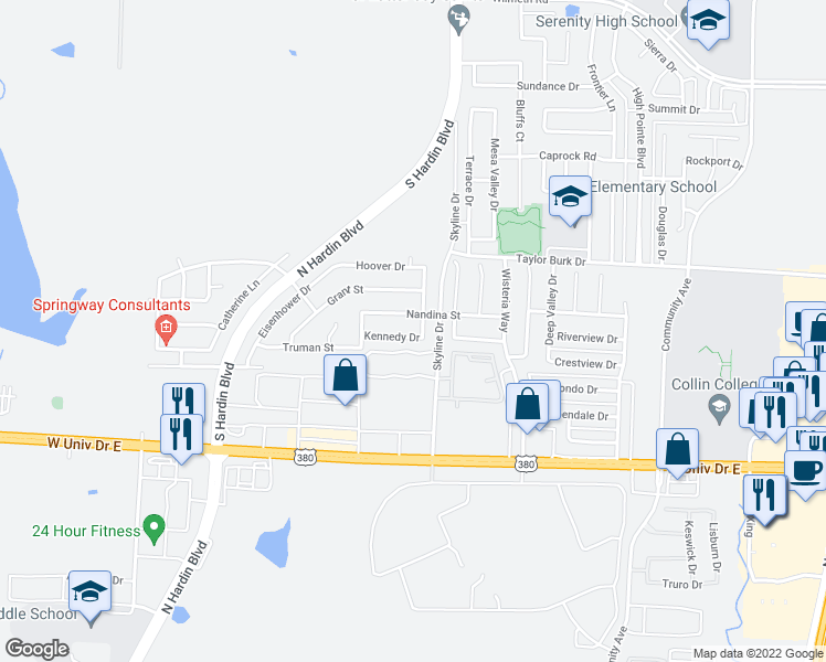 map of restaurants, bars, coffee shops, grocery stores, and more near 3104 Kennedy Drive in McKinney