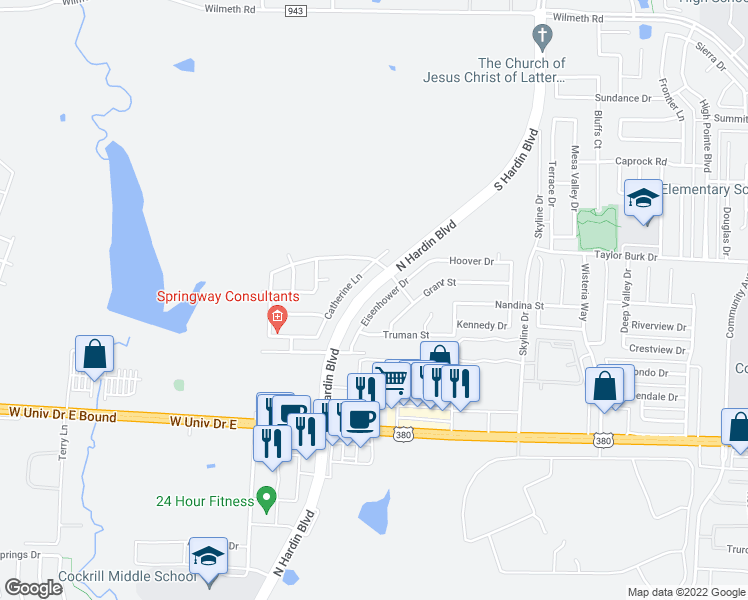 map of restaurants, bars, coffee shops, grocery stores, and more near 2209 Eisenhower Drive in McKinney