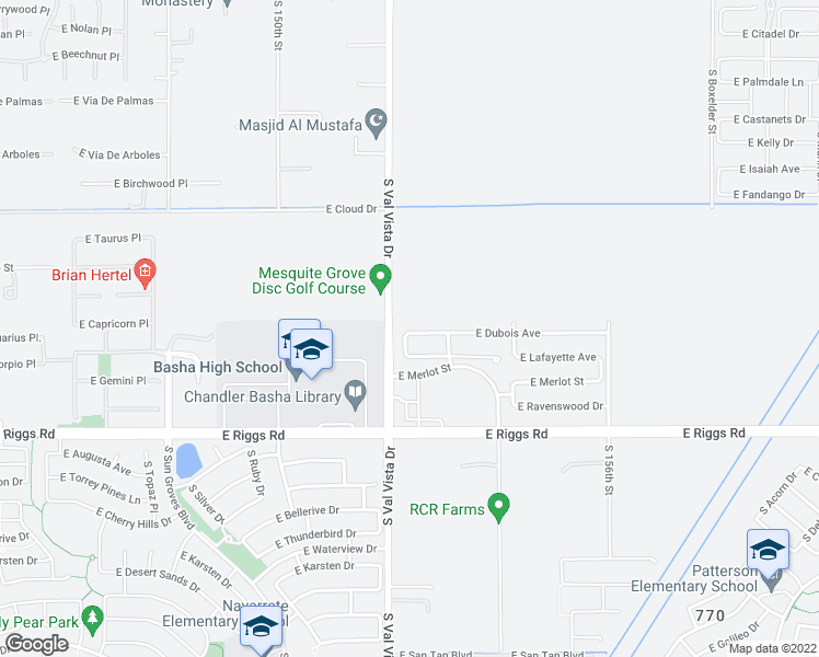 map of restaurants, bars, coffee shops, grocery stores, and more near 1640 East Dubois Avenue in Gilbert