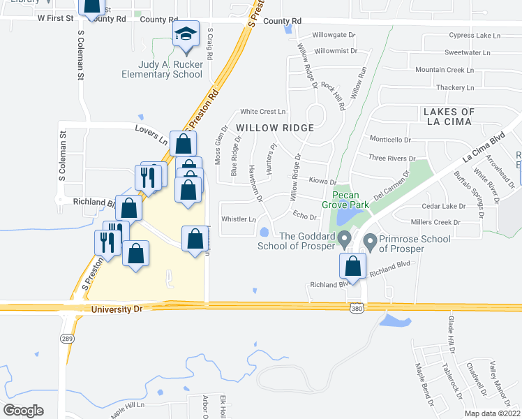 map of restaurants, bars, coffee shops, grocery stores, and more near 1040 Drexel Lane in Prosper