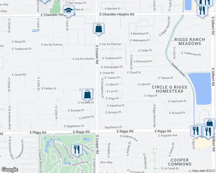 map of restaurants, bars, coffee shops, grocery stores, and more near 2087 East Libra Place in Chandler