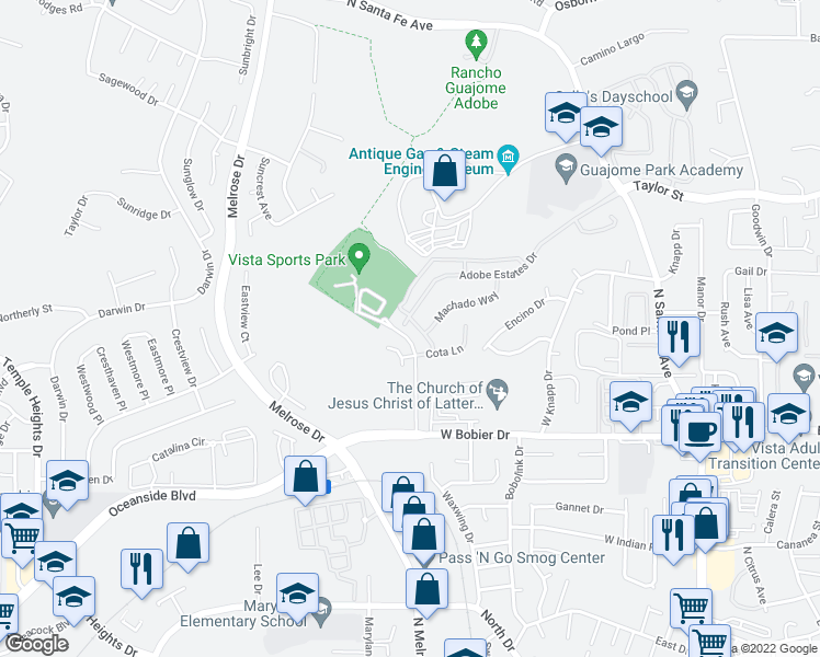 map of restaurants, bars, coffee shops, grocery stores, and more near 1538 Avila Lane in Vista
