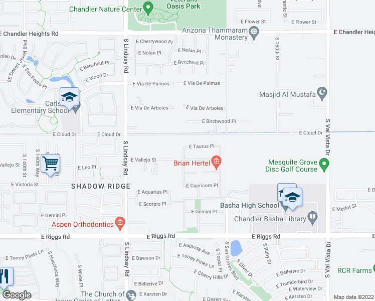 map of restaurants, bars, coffee shops, grocery stores, and more near 4301 East Taurus Place in Chandler