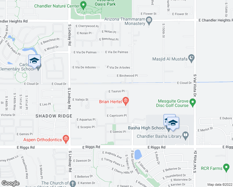 map of restaurants, bars, coffee shops, grocery stores, and more near 4361 East Taurus Place in Chandler