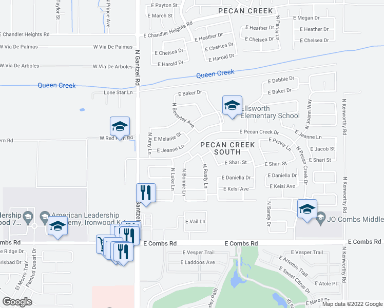 map of restaurants, bars, coffee shops, grocery stores, and more near 668 East Penny Lane in Queen Creek