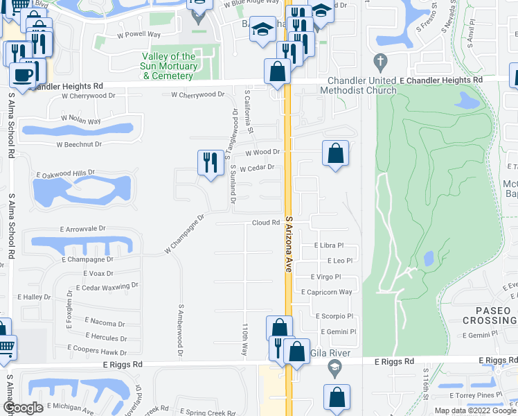 map of restaurants, bars, coffee shops, grocery stores, and more near 160 West Birchwood Place in Chandler