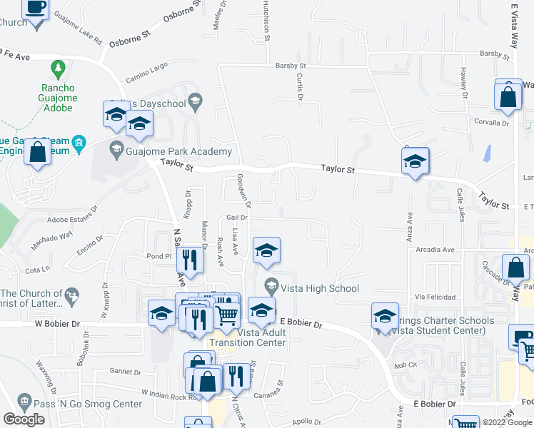map of restaurants, bars, coffee shops, grocery stores, and more near 328 Gail Drive in Vista