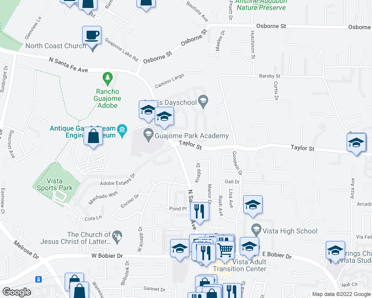 map of restaurants, bars, coffee shops, grocery stores, and more near 115 Taylor Street in Vista