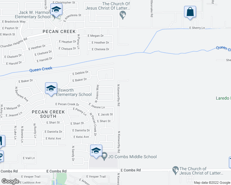 map of restaurants, bars, coffee shops, grocery stores, and more near 38531 North Jonathan Street in Queen Creek