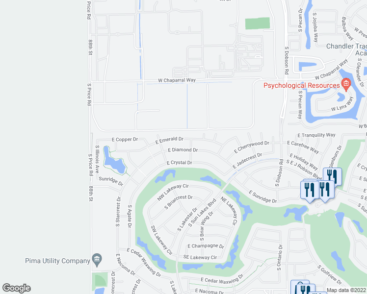map of restaurants, bars, coffee shops, grocery stores, and more near 9134 East Diamond Drive in Sun Lakes