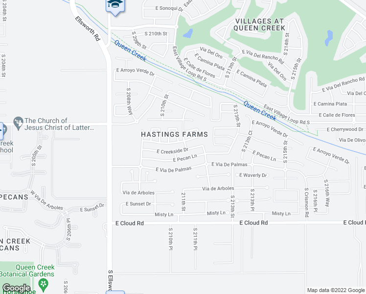map of restaurants, bars, coffee shops, grocery stores, and more near 21096 East Creekside Drive in Queen Creek
