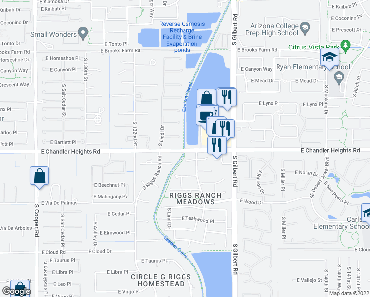 map of restaurants, bars, coffee shops, grocery stores, and more near Eastern Canal Road in Chandler