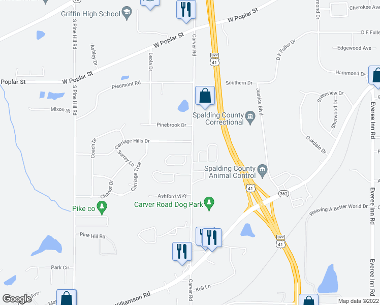 map of restaurants, bars, coffee shops, grocery stores, and more near 1701 Summerwoods Lane in Griffin