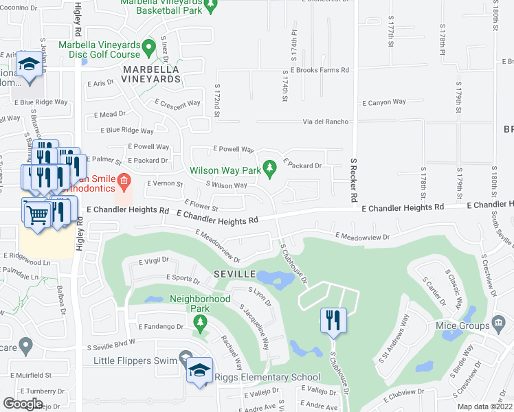 map of restaurants, bars, coffee shops, grocery stores, and more near 3733 East Janelle Court in Gilbert