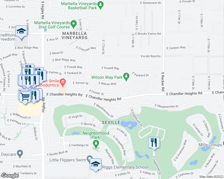 map of restaurants, bars, coffee shops, grocery stores, and more near 3659 East Janelle Way in Gilbert