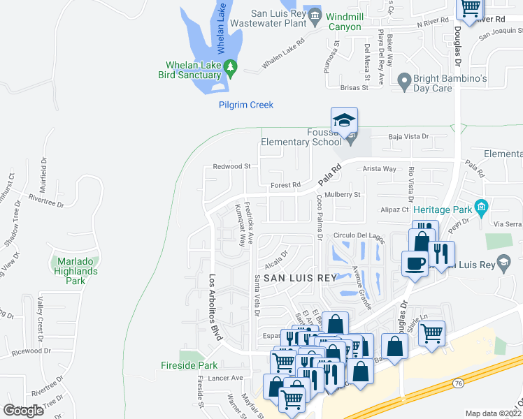 map of restaurants, bars, coffee shops, grocery stores, and more near 3895 Spanish Oak Court in Oceanside