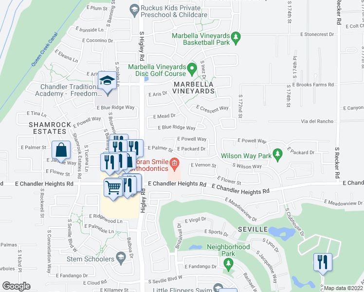 map of restaurants, bars, coffee shops, grocery stores, and more near 3366 East Packard Drive in Gilbert