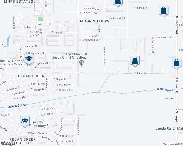 map of restaurants, bars, coffee shops, grocery stores, and more near 817 East Volk Lane in Queen Creek