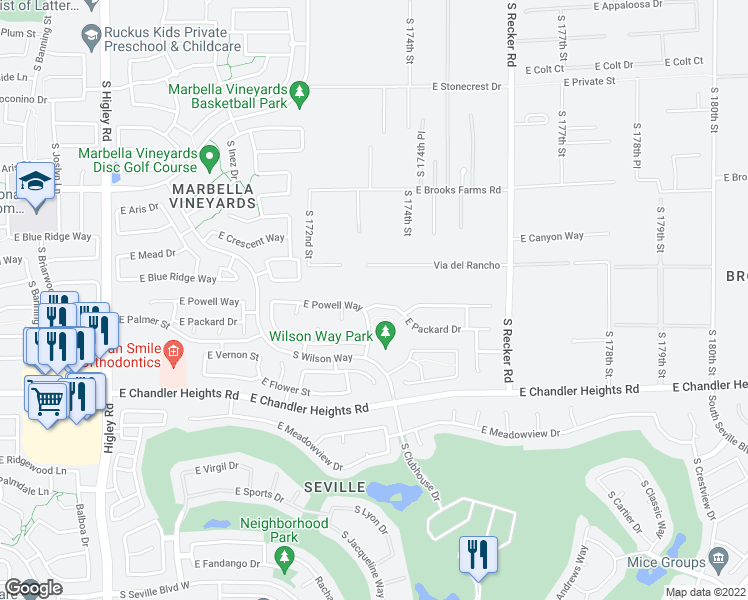 map of restaurants, bars, coffee shops, grocery stores, and more near 3736 East Powell Way in Gilbert