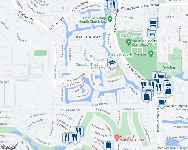 map of restaurants, bars, coffee shops, grocery stores, and more near 4683 South Oleander Drive in Chandler