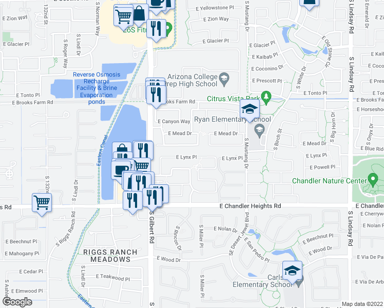 map of restaurants, bars, coffee shops, grocery stores, and more near 3210 East Lynx Place in Chandler