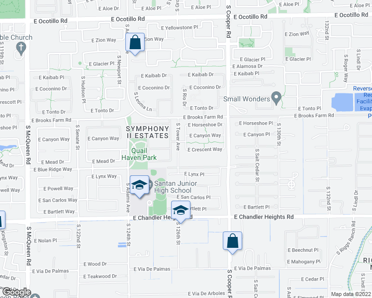 map of restaurants, bars, coffee shops, grocery stores, and more near 3489 East Crescent Way in Chandler