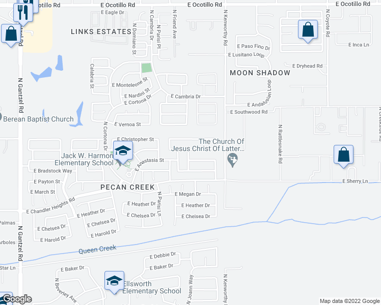 map of restaurants, bars, coffee shops, grocery stores, and more near 1561 East Maddison Circle in San Tan Valley