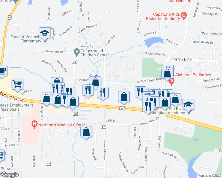 map of restaurants, bars, coffee shops, grocery stores, and more near 800 Energy Center Boulevard in Northport