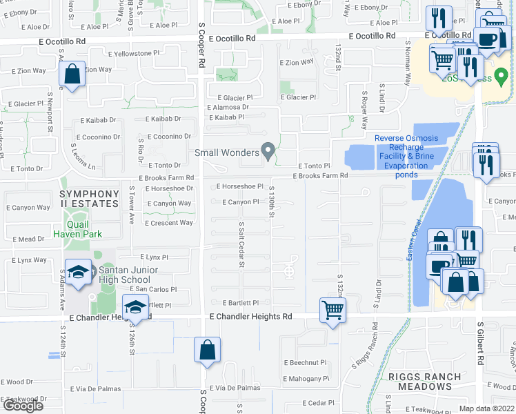 map of restaurants, bars, coffee shops, grocery stores, and more near 2203 East Canyon Place in Chandler