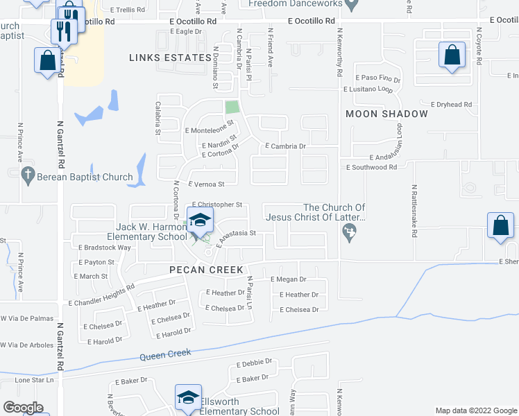 map of restaurants, bars, coffee shops, grocery stores, and more near 39672 Webb Avenue in San Tan Valley