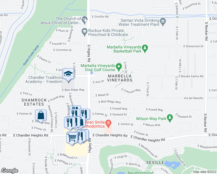 map of restaurants, bars, coffee shops, grocery stores, and more near 6758 Rachael Way in Gilbert