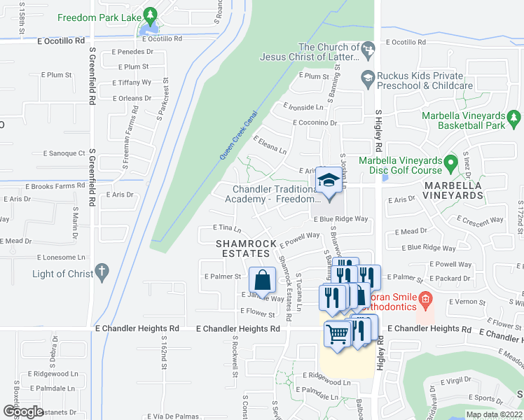 map of restaurants, bars, coffee shops, grocery stores, and more near 6064 South Connie Lane in Gilbert