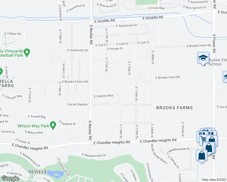 map of restaurants, bars, coffee shops, grocery stores, and more near 17724 East Canyon Way in Gilbert
