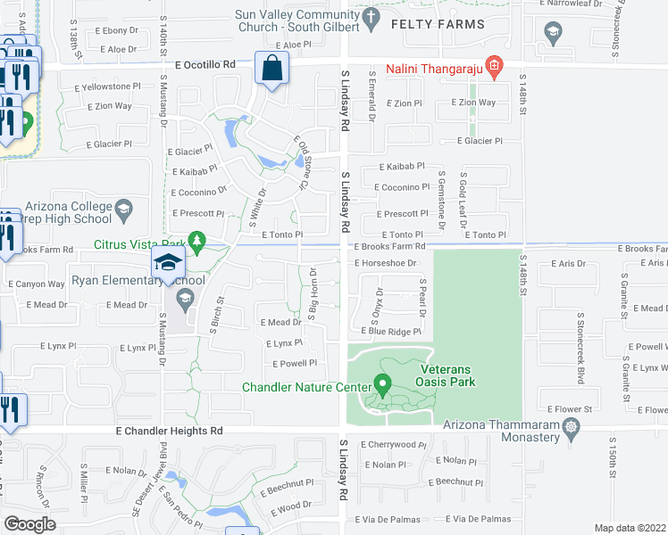 map of restaurants, bars, coffee shops, grocery stores, and more near 3951 East Horseshoe Place in Chandler