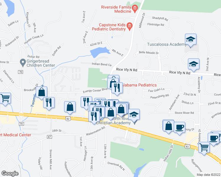 map of restaurants, bars, coffee shops, grocery stores, and more near 3678-3798 Watermelon Road in Tuscaloosa