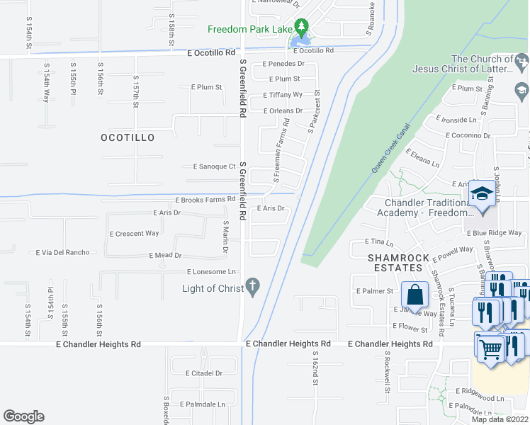 map of restaurants, bars, coffee shops, grocery stores, and more near 2457 East Aris Drive in Gilbert