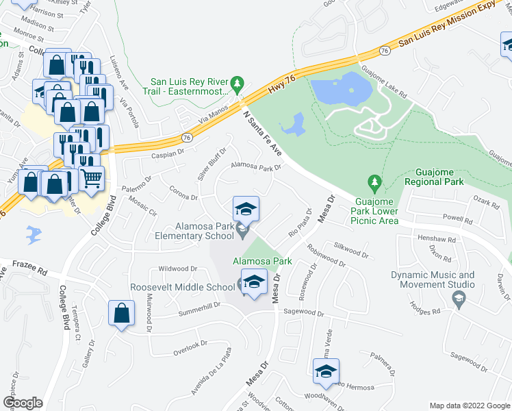 map of restaurants, bars, coffee shops, grocery stores, and more near 5161 Prado Court in Oceanside