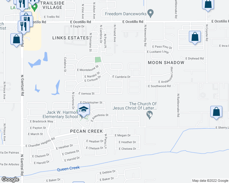 map of restaurants, bars, coffee shops, grocery stores, and more near 1316 East Vernoa Street in Queen Creek