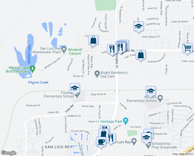 map of restaurants, bars, coffee shops, grocery stores, and more near 4442 Brisbane Way in Oceanside