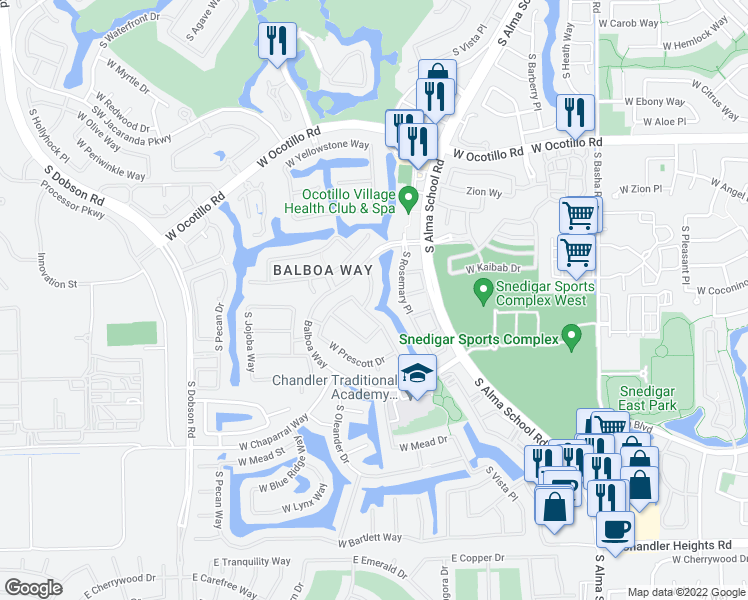 map of restaurants, bars, coffee shops, grocery stores, and more near 4351 South Purple Sage Drive in Chandler