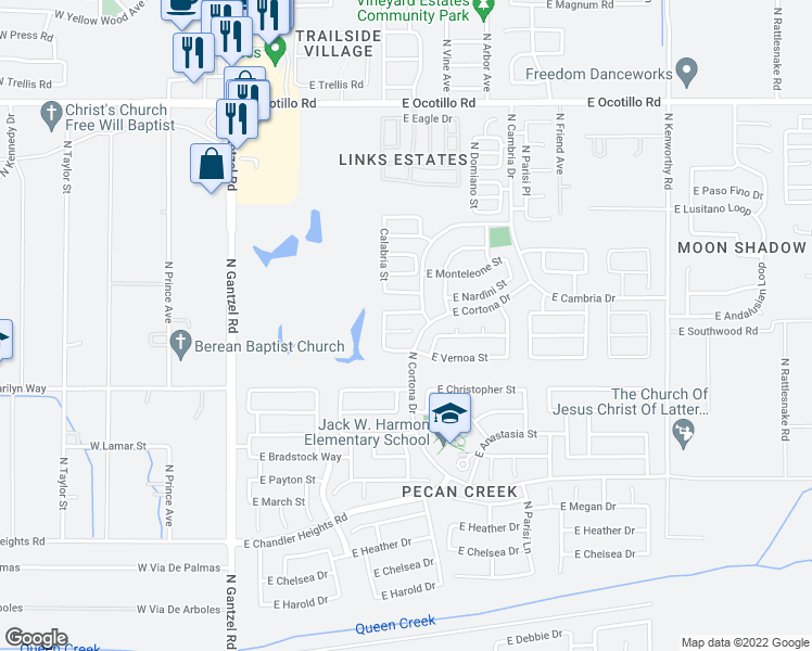 map of restaurants, bars, coffee shops, grocery stores, and more near 850 East Rossi Court in San Tan Valley