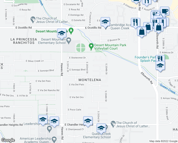 map of restaurants, bars, coffee shops, grocery stores, and more near 22731 South 202nd Street in Queen Creek