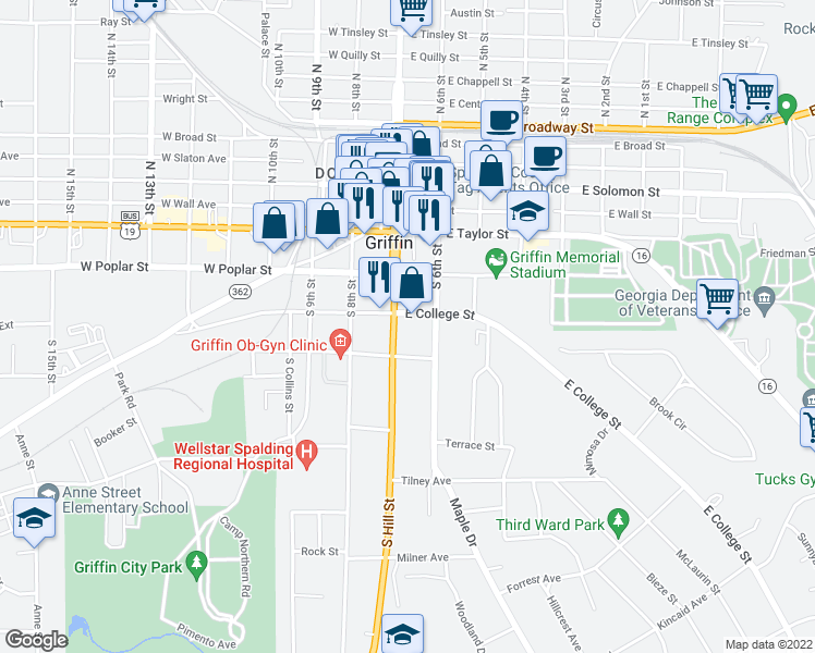map of restaurants, bars, coffee shops, grocery stores, and more near 408 Hill in Griffin