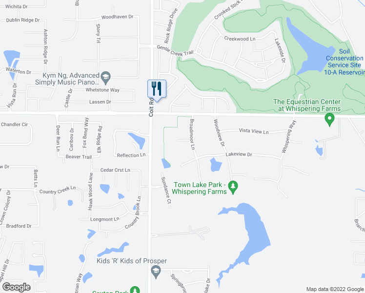 map of restaurants, bars, coffee shops, grocery stores, and more near 2580 W View Ct in Prosper