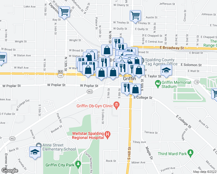 map of restaurants, bars, coffee shops, grocery stores, and more near 250 South 9th Street in Griffin
