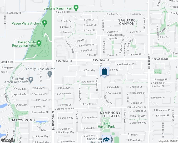 map of restaurants, bars, coffee shops, grocery stores, and more near 1423 East Zion Way in Chandler