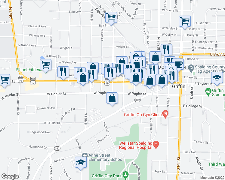 map of restaurants, bars, coffee shops, grocery stores, and more near 625 W Poplar St in Griffin