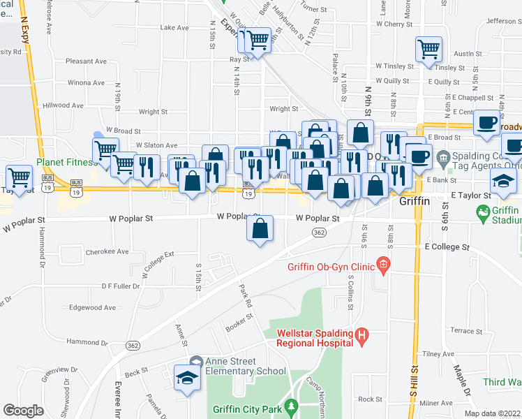 map of restaurants, bars, coffee shops, grocery stores, and more near 625 West Poplar Street in Griffin